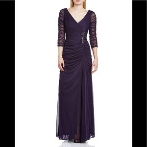 Adrianna Papell Drape Covered Gown- Aubergine